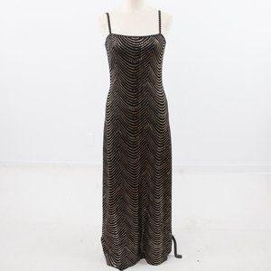 St.John M Santana Knit Gold Wave Formal Gown Black